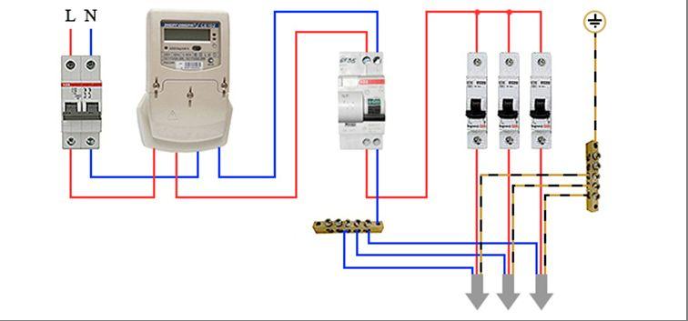 подключение УЗО и электросчетчика