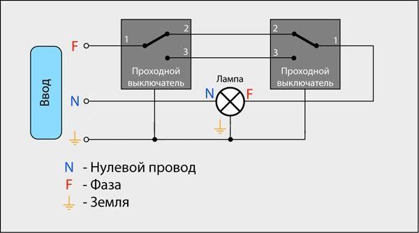 схема подключения проходного выключателя с заземлением