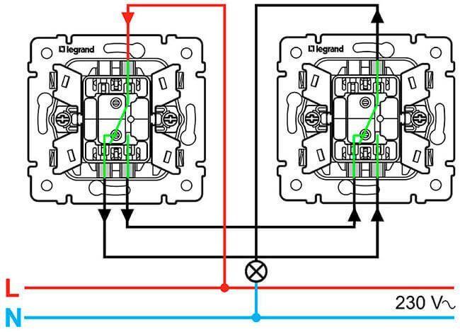 соединение выключателей из разных точек