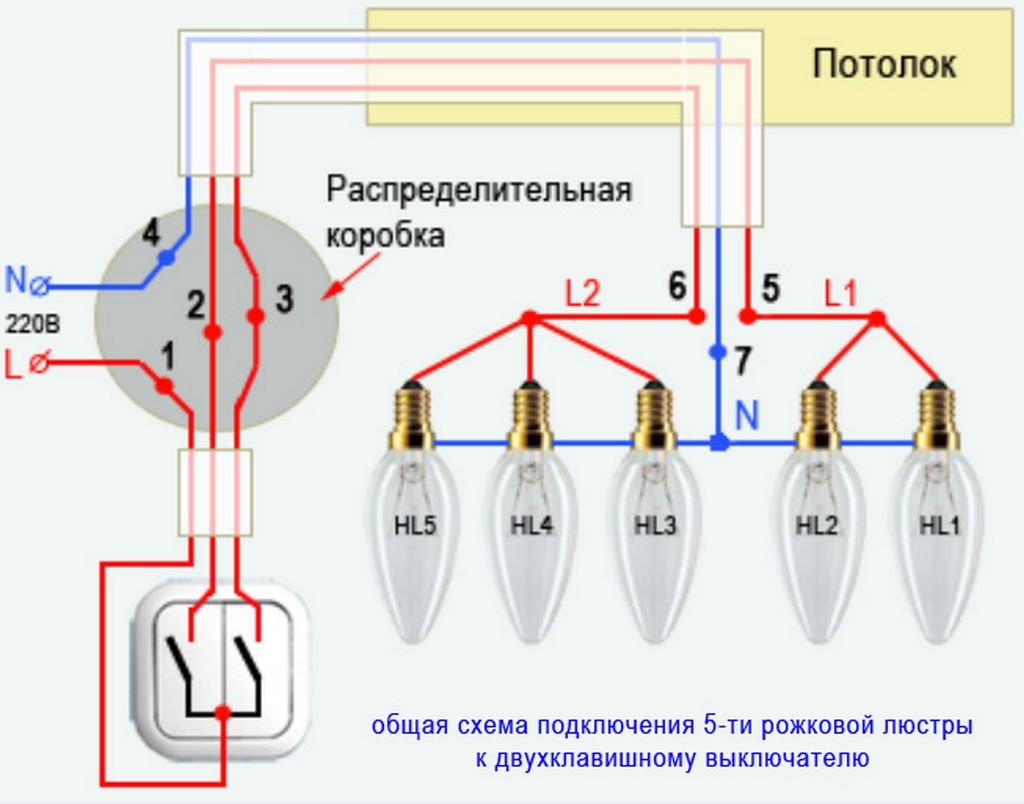Как подключить люстру с 5 рожками., схема