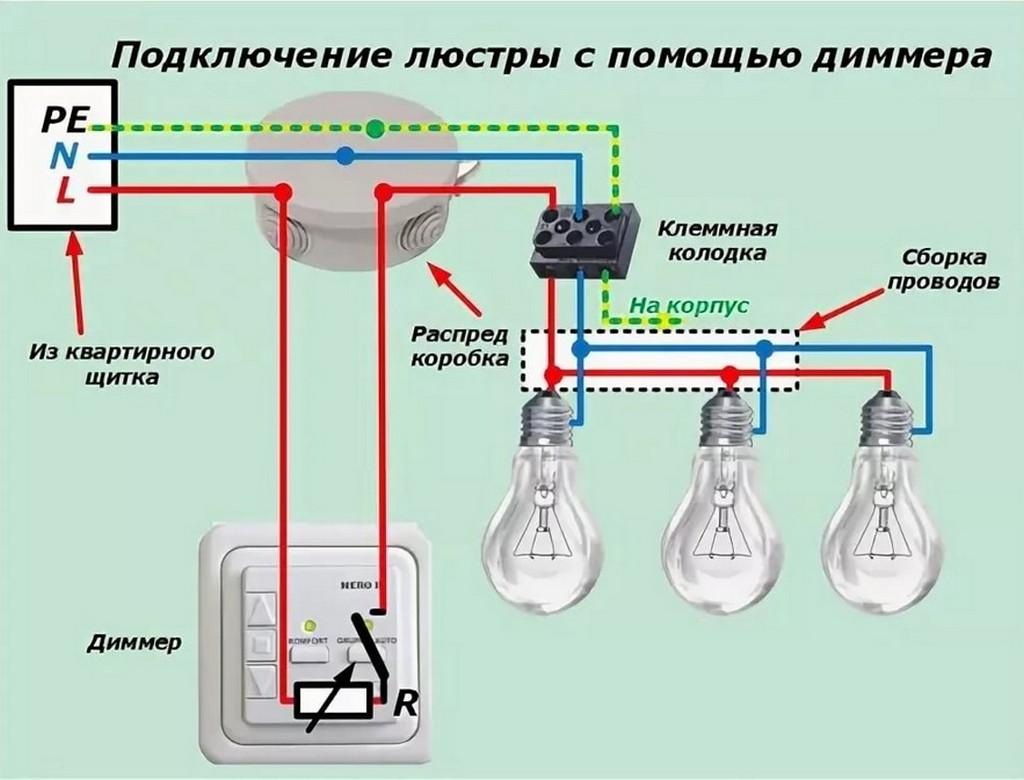 Подключение люстры с помощью диммера (схема)