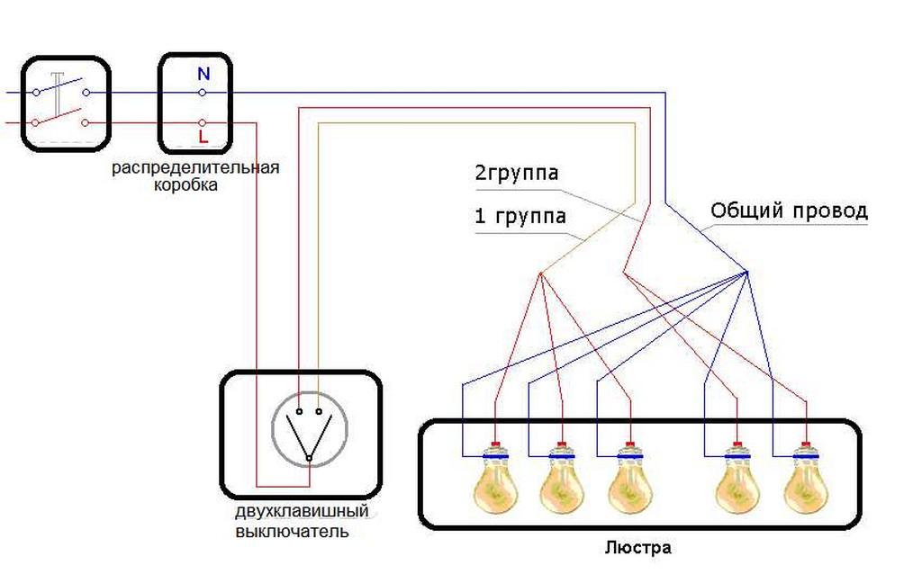 Как Как подключить люстру к двуклавишному выключателю